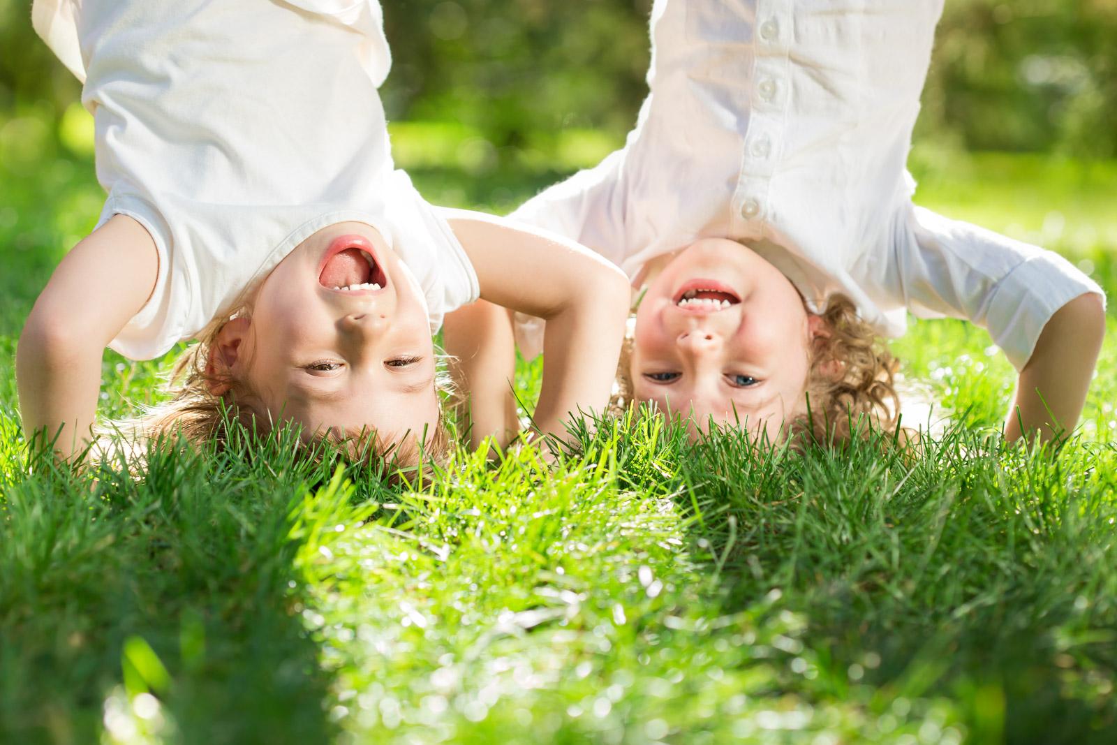 kids playing grass