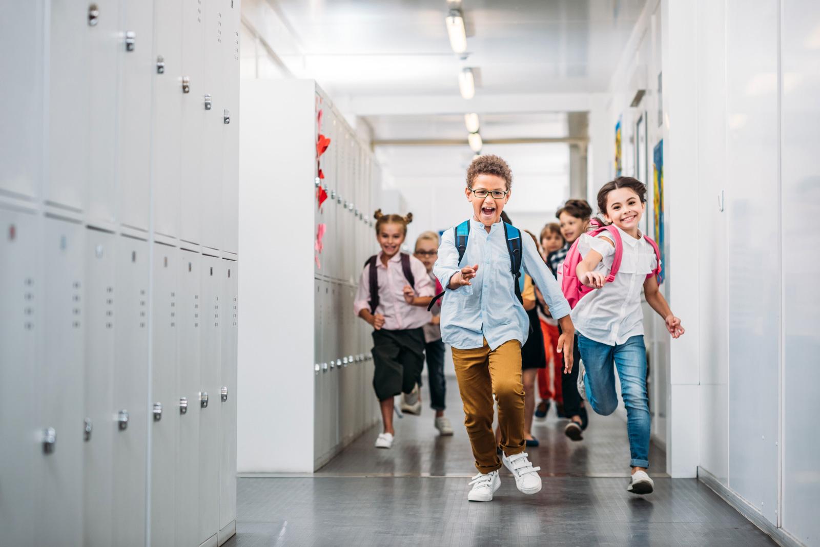 kids running in school hallway